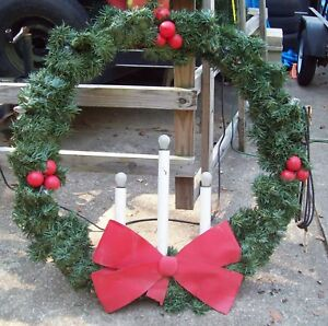 Image Is Loading 48 034 Christmas Wreath 3 Candle Amp Lights