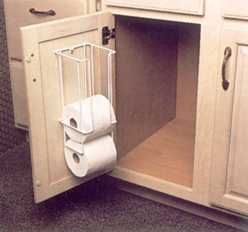 KV 4 ROLL WHITE METAL TOILET PAPER HOLDER MOUNTS TO VANITY DOOR FETPH 531WH