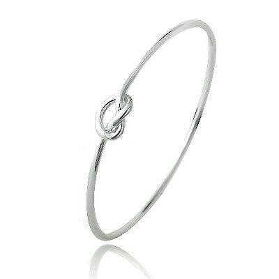 Sterling Silver Polished Love Knot Bangle Bracelet