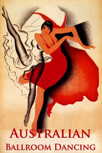 AUSTRALIA AUSTRALIAN BALLROOM DANCING DANCE SHOW GIRL VINTAGE POSTER REPRO