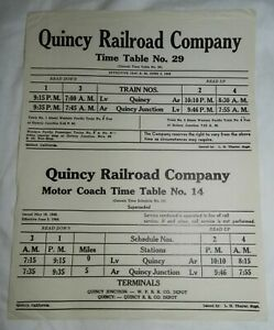 1940-Quincy-Railroad-Company-Time-Table-No-29