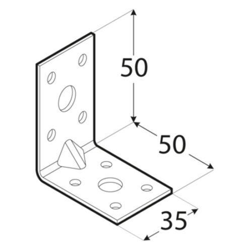 Winkel Bauwinkel Winkelverbinder 50 x 50 x 35 mm mit Verstärkung KPL5