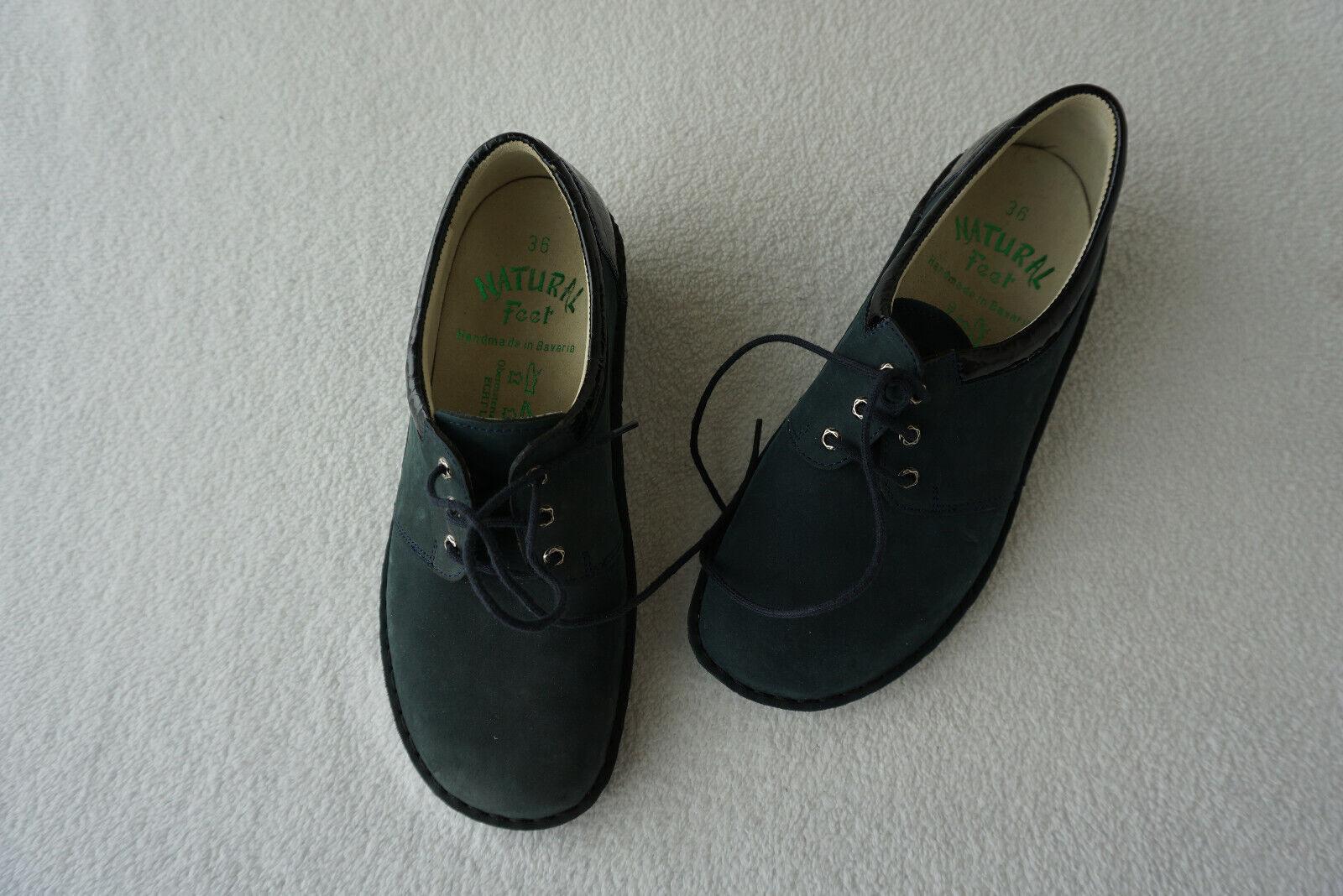 orthopädische Natural Feet Damen Schuhe Schnürschuh marine Gr.36 Nubuk Leder NEU