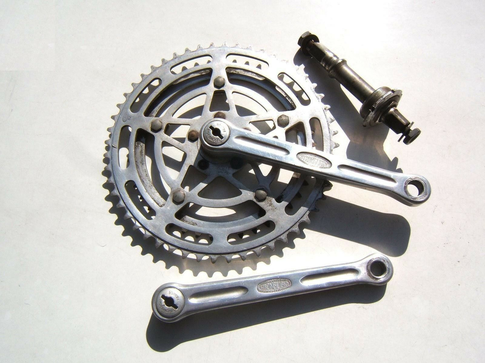 STRONGLIGHT 49D ALLOY  CRANKSET TWIN CHAINWHEEL 42 52, AXLE, 1 2 B.B. - 60's USED  100% genuine counter guarantee