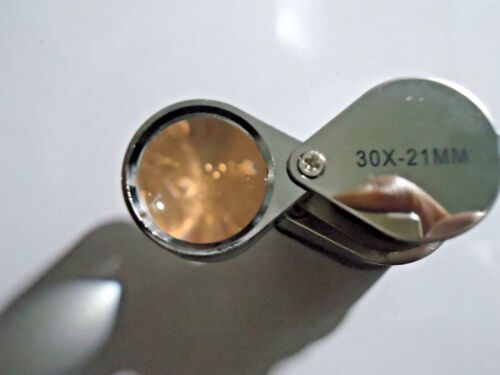 1-30x21mm  folding Glass Magnifier loupes .forJewelry coins etc.#08