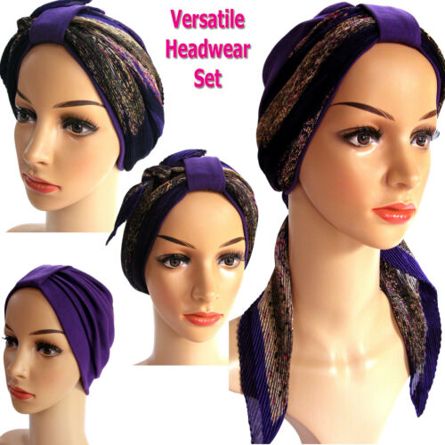 Comfortable headwear for hair loss Versatile,Turban and headwrap 2pc set chemo