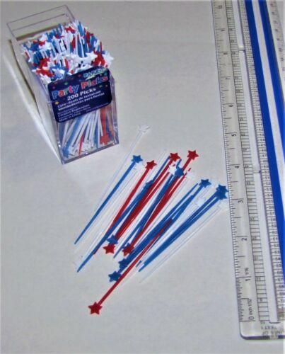Red Blue Plastic Party Pick  200//pk #060030 Stars Hor D/'oeuvres Picks White