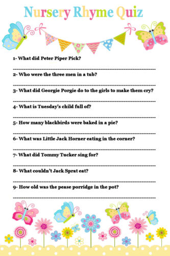 nursery rhyme quiz game baby shower 20 sheets players boy girl neutral
