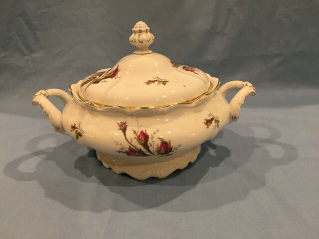 Rosenthal China Pompadour Moss Rose Covered Serving Bowl Ivory - Round  Vegetable