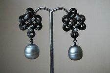 NEW STEPHEN DWECK FORTUNA STERLING SILVER DIAMOND AND 11 MM PEARL DROP EARRINGS