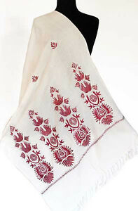 Crewel-Embroidered-Wool-White-Shawl-Red-amp-Silver-Embroidery-Ari-Kashmir-Stole