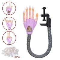 Flexible Nail Trainer Bendable Nail Art Practice Human Soft Hand W/100 Tips Us