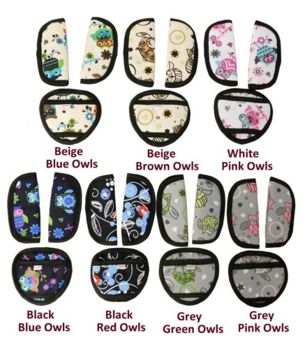 Baby Car Seat and Pushchair Belts Crotch Cover Harness Straps Pads 3pcs Owls