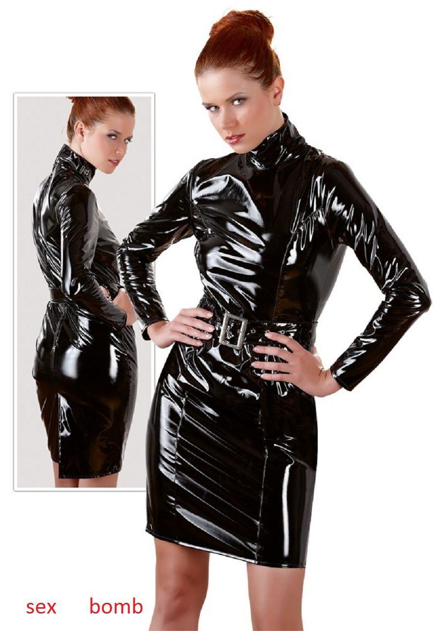 Sexy Abito Vestito black Vinile Zip Collo Alto Cintura S M L XL Fashion GLAMOUR