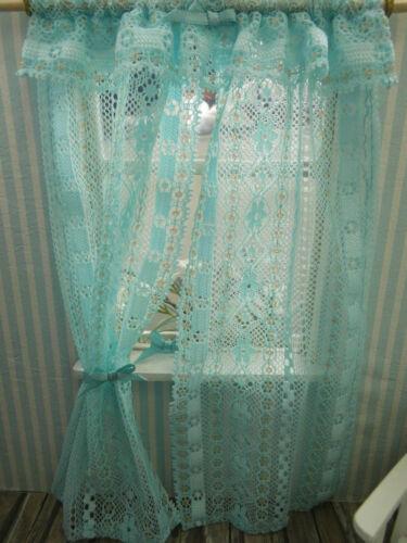 Zarte Miniatur-Tüllspitzen-GARDINE,mint,auf Holzstange,Schlafzimmer,20,5cm lang