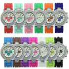 Fashion Bling Crystal Ladies Women Girl Jelly Silicone Quartz Analog Wrist Watch