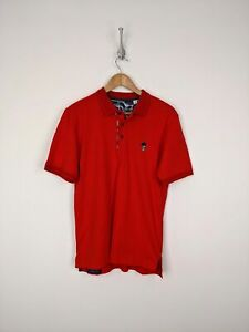 New-Robert-Graham-Skull-Polo-Shirt-Men-Small-Red-White-Crown-Casual-Bone