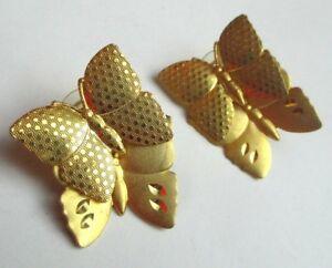 Inventif Originales Boucles D'oreilles Percées Papillon Couleur Or Bijou Vintage 2421 Rendre Les Choses Pratiques Pour Les Clients