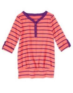 Alerte Gymboree Neuf Avec Étiquettes Filles Cherry Blossom Orange Corail à Rayures Haut Tunique Taille 4 5 & 6-afficher Le Titre D'origine