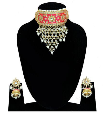 Indian Ethnic Trend Gold Plated Kundan Choker Earrings Women Original Jewellery