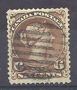 Canada-Scott-27-6c-Dark-Brown-Large-Queen-VF-used-with-grid-cancel-Cats-200