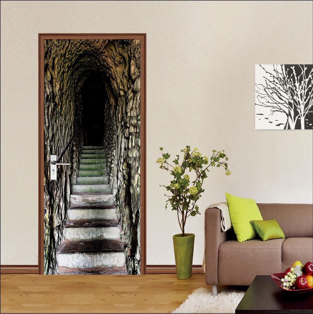 3D Tunnel Schritte 4 Tür Mauer Wandgemälde Foto Wandaufkleber AJ WALL DE Lemon