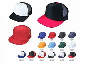f13a56e3af3 NEW Flat Bill Blank CAPS 5 PANEL RETRO HATS MESH TRUCKER SNAPBACK ...