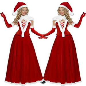 Sexy-Women-Adult-Mrs-Santa-Claus-Christmas-Xmas-Costume-Party-Outfit-Fancy-Dress