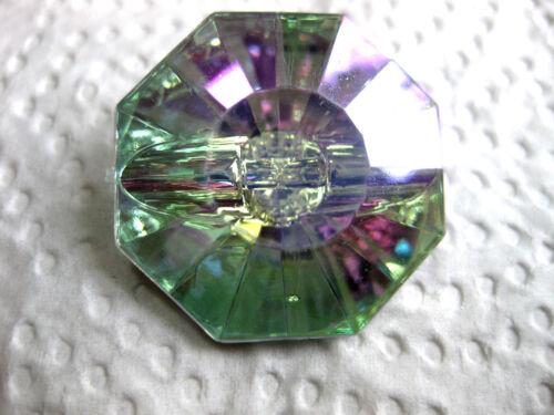 5 grands BOUTONS OCTOGONALE 30mm multicolores opalescente k15