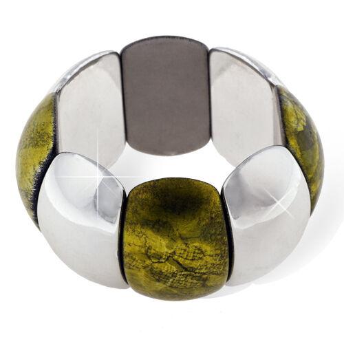 Glamour Green /& Silver Elastic Adjustable Resin Wide Bracelet Bangle BB62