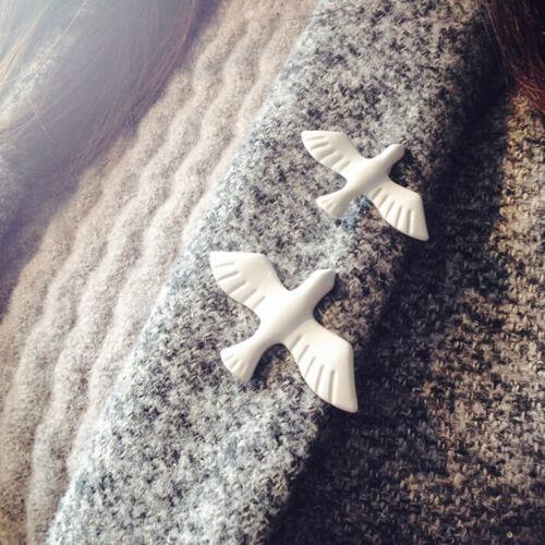 Mujeres Camisa Cuello De Paloma de la paz blanco con estilo hebilla Pájaro Broche Pin Regalo De Navidad Gq