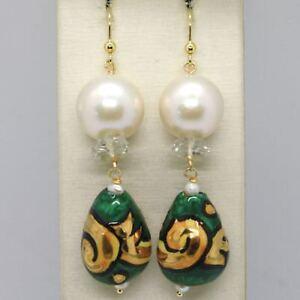 Ohrringe-aus-Gold-Gelb-750-18K-Perlen-Fw-Tropf-Bemalt-Hand-Made-in-Italien
