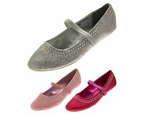 bed5745edba03 Girls Glitter Studded Party Shoes Mary Janes Flat Ballet Pumps Kids ...