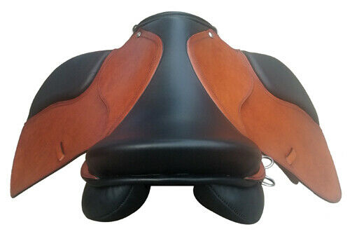 """NEW ENGLISH JUMPING LEATHER HORSE SADDLE BROWN-BLACK 15/""""-18/"""""""