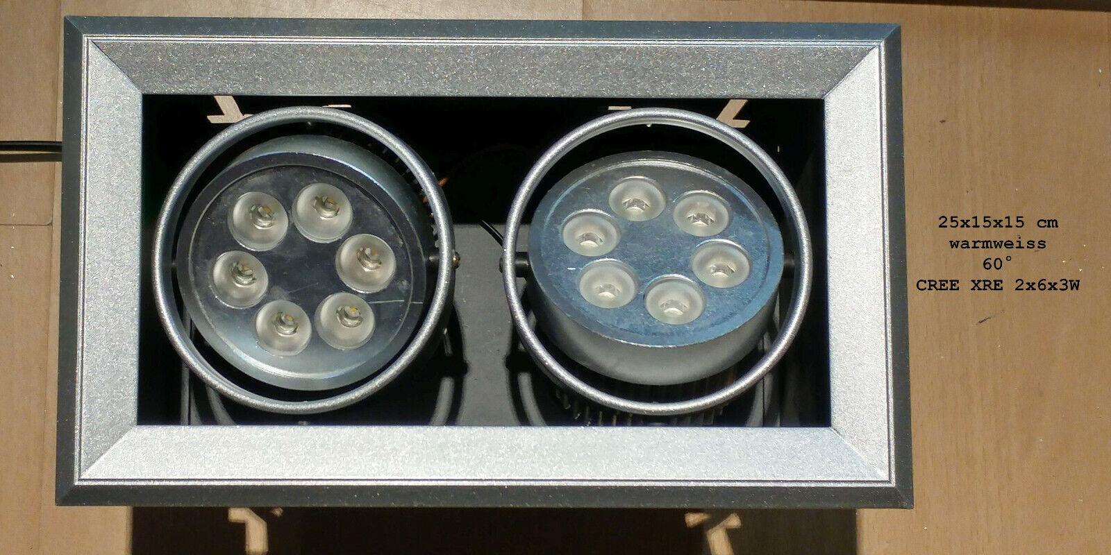 Einbau- Downlight, Kardanisch schwenkbarer LED Strahler 2 x 18W warmweiß