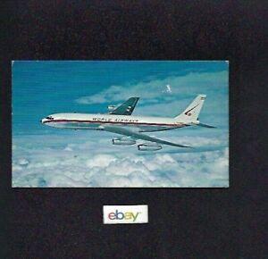 WORLD AIRWAYS BOEING 707-320C INTERCONTINENTAL AIRLINE ISSUE 1960/'S POSTCARD
