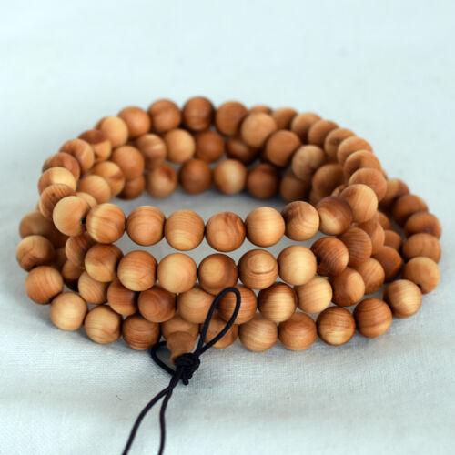 Natural Thuja Wood Round Wood Beads 8mm 6mm 108 beads Mala Prayer Beads