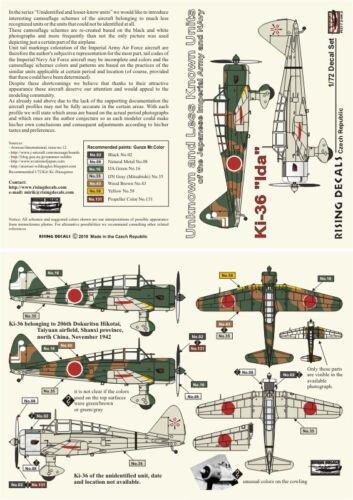 """Rising Decals 72082 1//72 Ki-36 /""""IDA/"""" inconnu et moins connu des unités"""