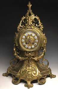 Antique Italy Brass Ornate French Louis XVI Gothic Revival Mantel Clock