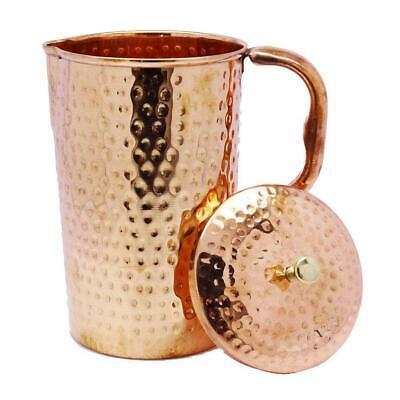 Hammered Ayurveda Pitcher Copper Jug 1.5 Litre Water Storage Health Benefit Yoga
