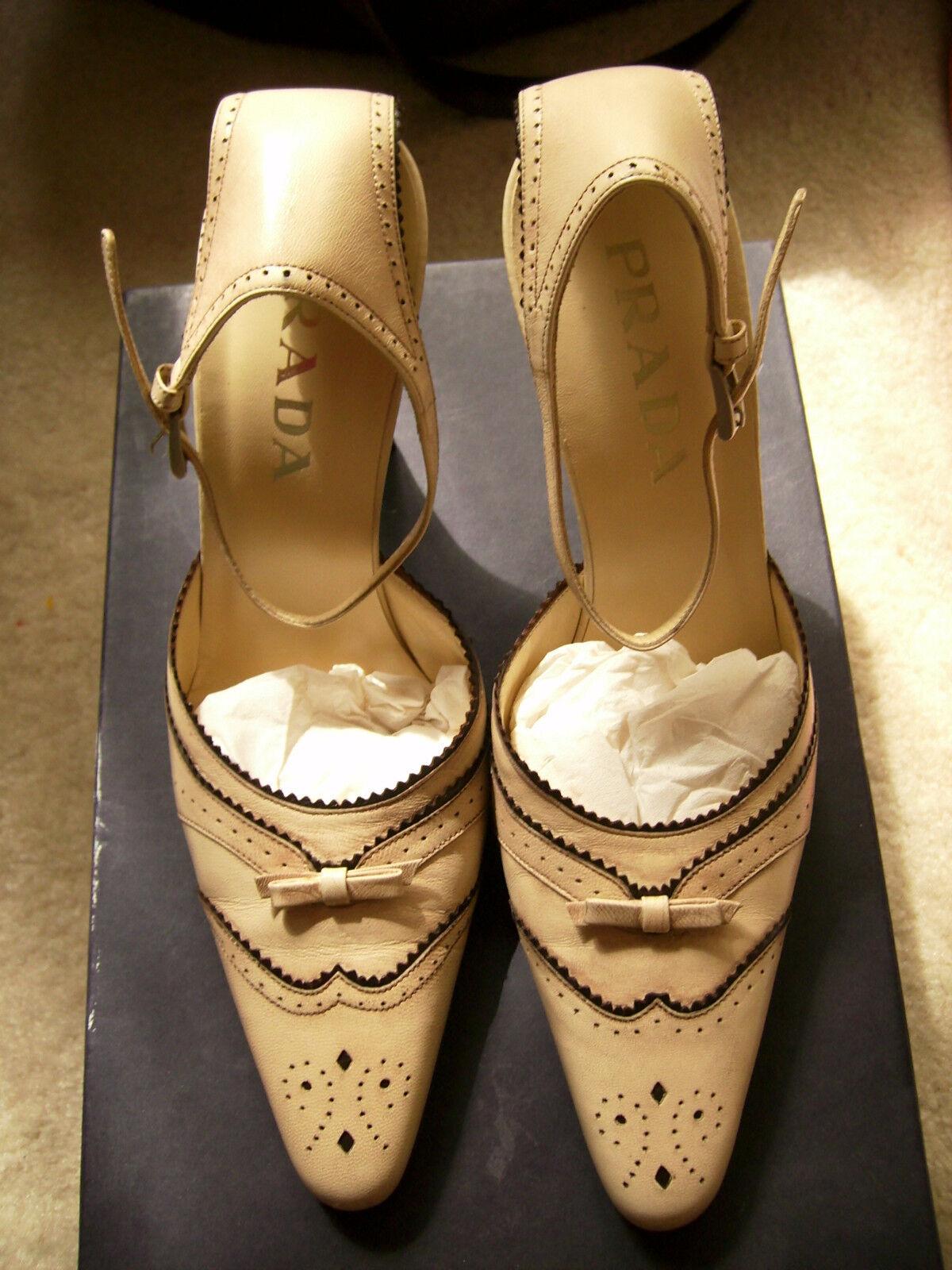 PRADA ANKLE STRAP scarpe NUDE    ECRU  NIB Dimensione 38  lo stile classico