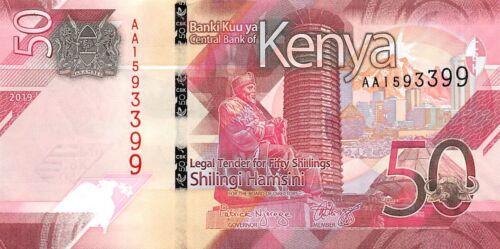 Kenya set 50-100-200-500-1000 Shillings 2019 Unc Pick New