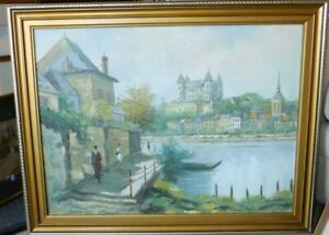 Signed-Original-Oil-Painting-Landscape-of-France-Saumur-in-the-Loire-Valley