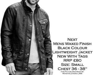 Next-Black-Mens-Waxed-Finish-Cotton-Padded-Lightweight-Shower-Proof-Jacket-BN