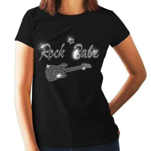 Rock And Roll Ladies Fitted T Shirt Crystal Rhinestone Design ALL SIZES