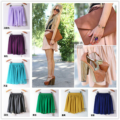 Woman's Leisure Solid high waist Double Layer Chiffon Pleated Mini skirt Dress