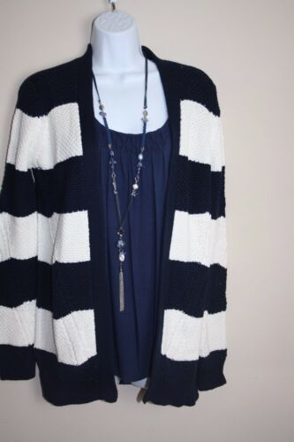 Donna Ex M/&S Blu Navy A Righe O Cardigan in Cotone Blu S-XL 8-20 NSP £ 29.50 £ 17.50