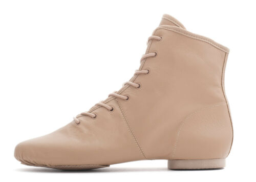 Tan Nude PU Rubber Split Sole Lace Jazz Dance Stage Practice Boot Shoes By Katz