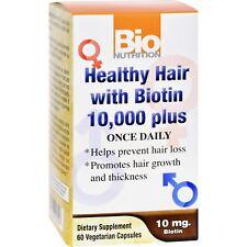 Bio Nutrition Healthy Hair With Biotin 10000 Plus 60 Vegetable Capsules