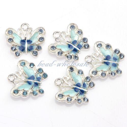5//10pcs Enamel Animal Butterfly Pendant Charms Jewelry Making Findings